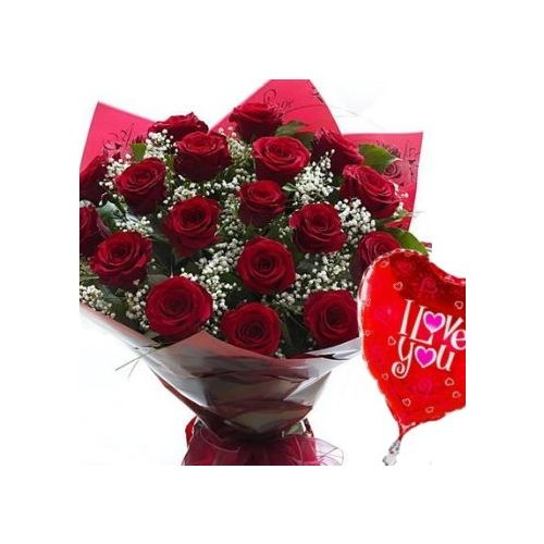 12 Red Roses & Balloon