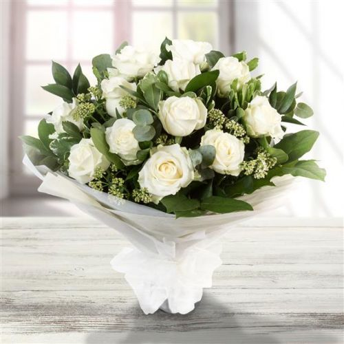 Dozen Long Stemmed White Roses