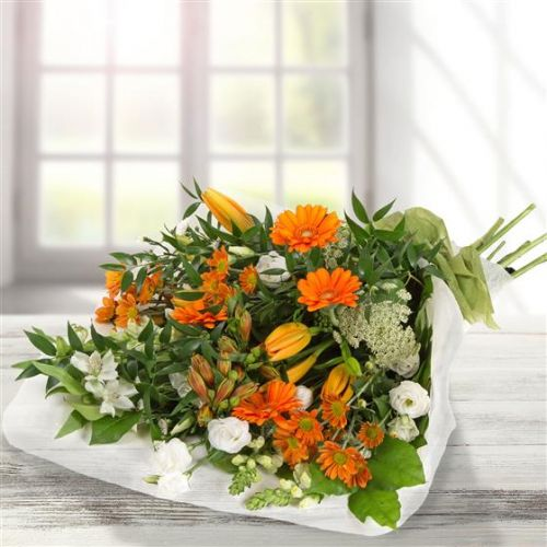 Orange & White Traditional Bouquet