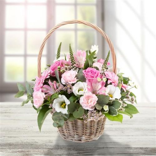 Pink & Cream Basket Arrangement