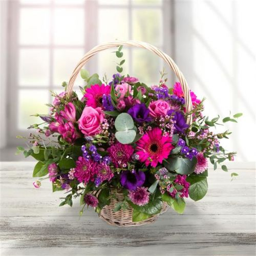 Purple & Pink Basket Arrangement