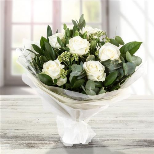 Six Long Stemmed White Roses