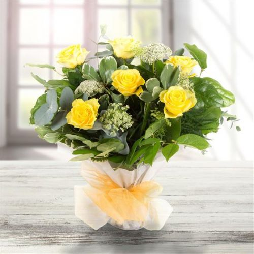 Six Long Stemmed Yellow Roses