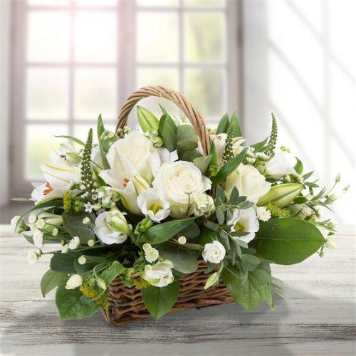 White Basket Arrangement