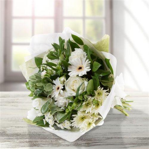 White & Cream Tied Bouquet